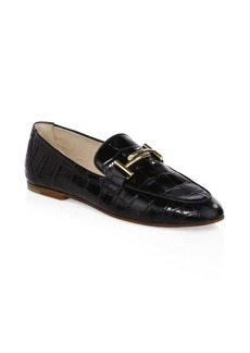 Tod's Double T Textured Leather Loafers