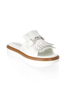 Tod's Embellished Fringe Leather Sandals