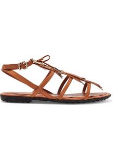 Tod's Embellished Fringed Leather Sandals
