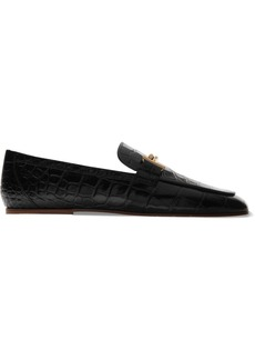 Tod's Embellished Glossed Croc-effect Leather Loafers