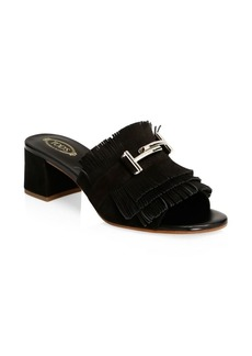 Fringe T-Bar Leather Slides