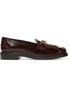 Tod's Fringed Embellished Glossed-leather Loafers