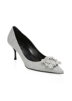 Roger Vivier Glitter Flower Point Toe Heels