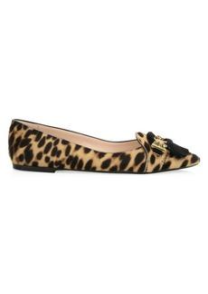 Tod's Gomma Ballerina Leopard-Print Leather Flats