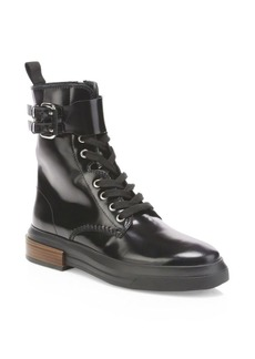 Tod's Gomma Buckle Leather Combat Boot