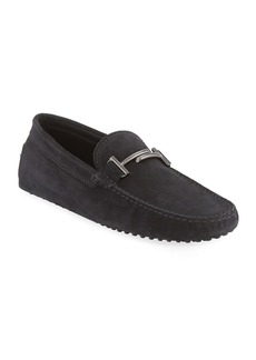 Tod's Gommini Double-T Suede Driver  Black