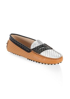 Gommini Micro-Stud Leather Driving Loafers