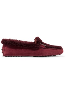 Tod's Gommini Suede And Shearling Loafers