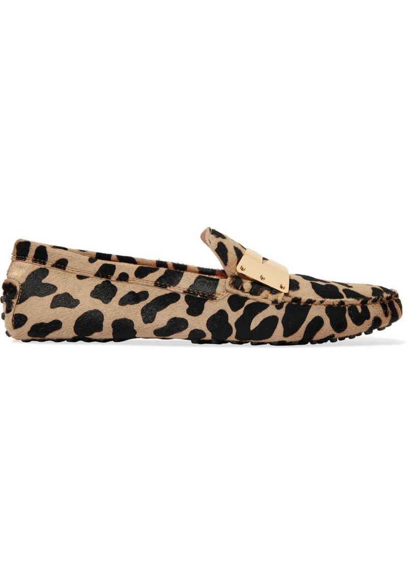 Tod's Gommino Embellished Leopard-print Calf-hair Loafers