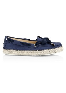 Tod's Gommino Leather & Raffia Boat Shoes