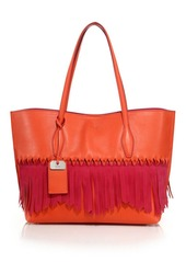 Tod's Joy Medium Two-Tone Fringed Leather & Suede Tote