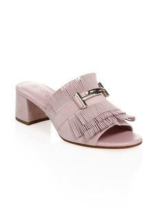 Lavender Fringed Suede Mules