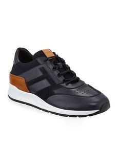 Tod's Men's 56-B Mesh & Leather Trainer Sneakers  Navy