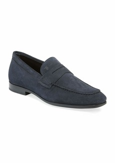 Tod's Men's Moccasino Suede Penny Loafers  Blue