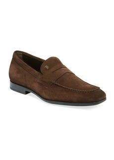 Tod's Men's Moccasino Suede Penny Loafers  Brown