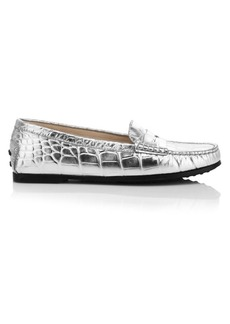 Tod's Gommino Metallic Croc-Embossed Leather Driving Loafers