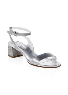 Metallic Leather Slingback Sandals
