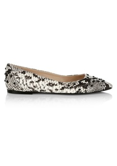 Tod's Python-Embossed Leather Ballerina Flats