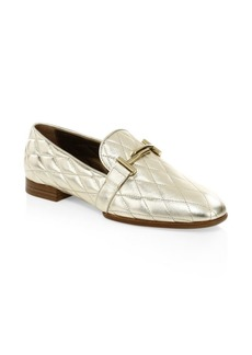 Tod's Quilted Metallic Leather Penny Loafer