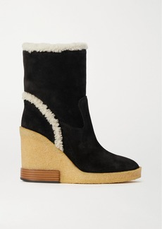 Tod's Shearling-trimmed Suede Wedge Ankle Boots