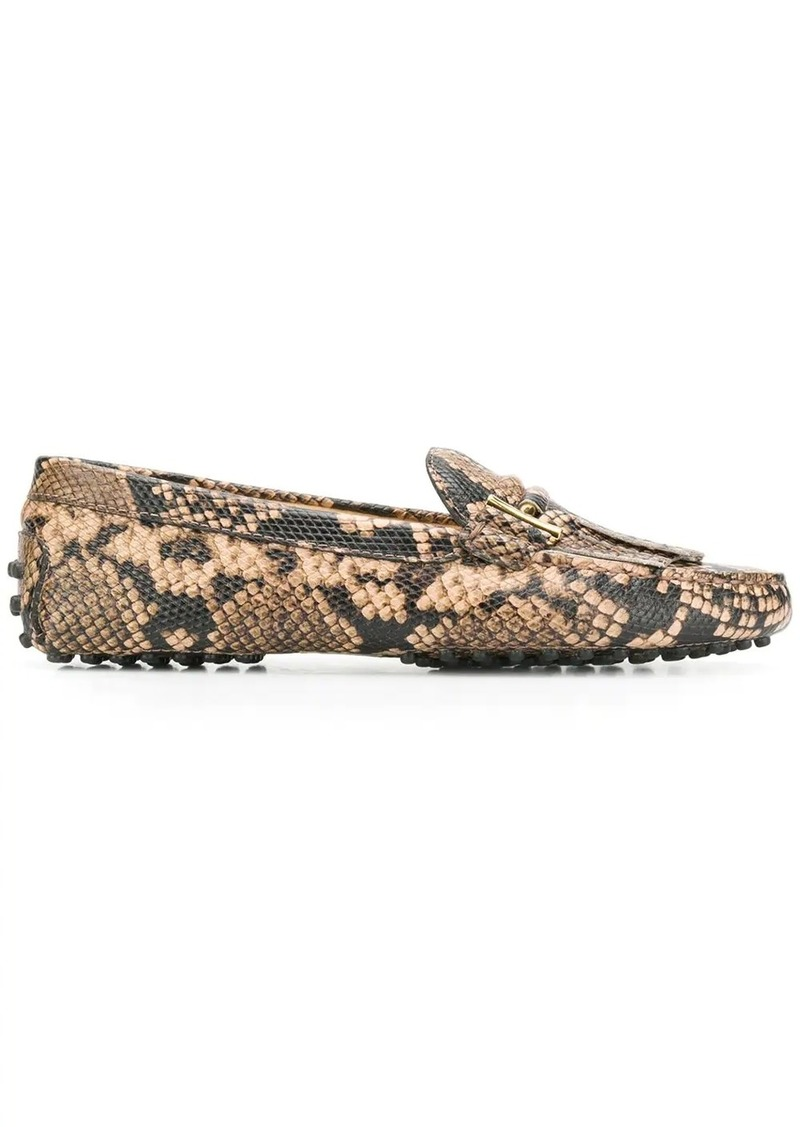 Tod's snakeskin effect loafers