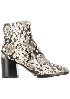 Tod's snakeskin print ankle boots