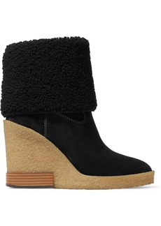Tod's Sonia Shearling-trimmed Suede Wedge Ankle Boots