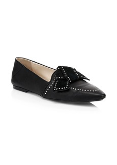 Tod's Studded Bow Leather Ballet Flats