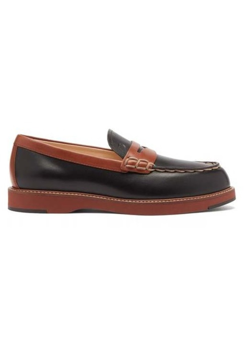Tod's Bi-colour topstitched leather loafers