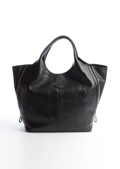 Tod's black leather gusseted top handle tote