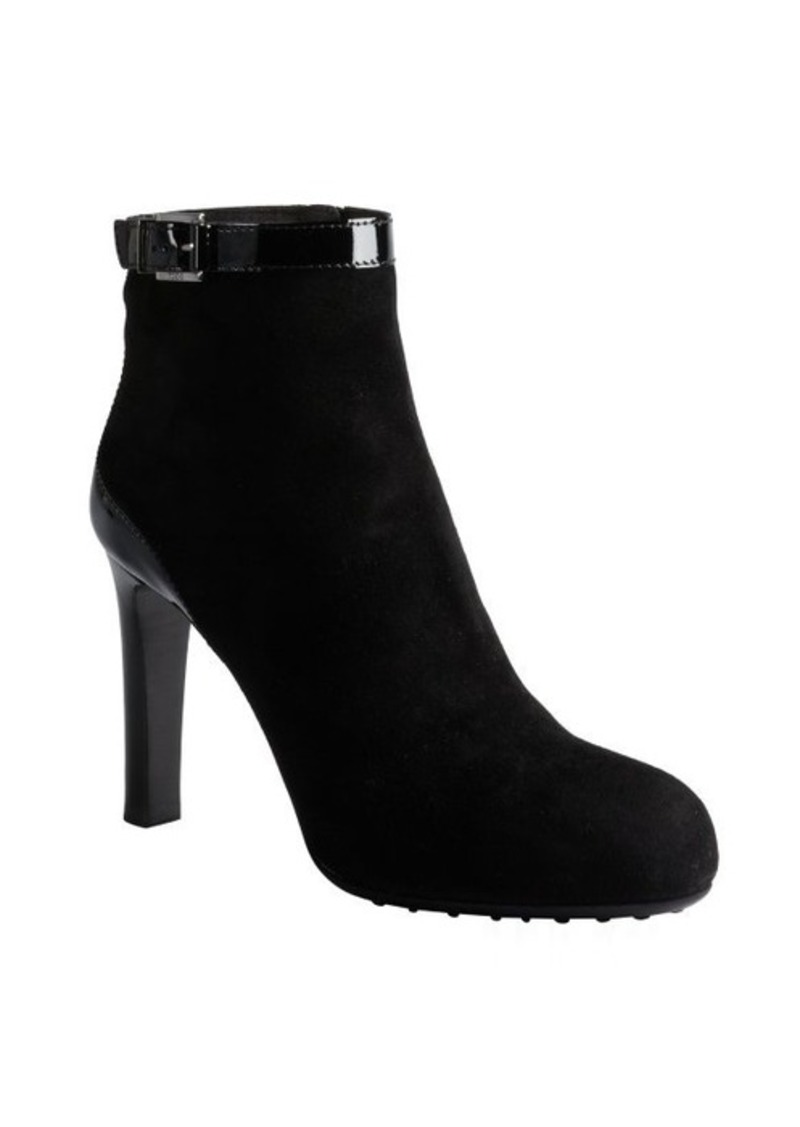 Tod's black suede and patent ankle strap booties