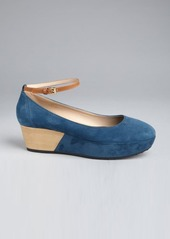 Tod's cadet blue suede ankle strap stacked platform wedges