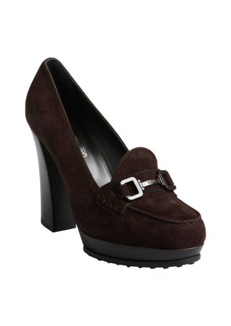 Tod's chocolate suede moc toe wooden heel loafer pumps