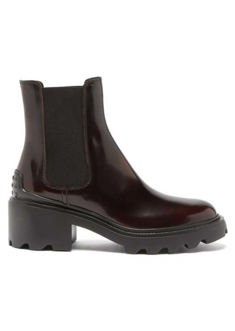 Tod's Chunky-sole patent-leather Chelsea boots