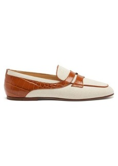 Tod's Crocodile-effect leather-trimmed canvas loafers
