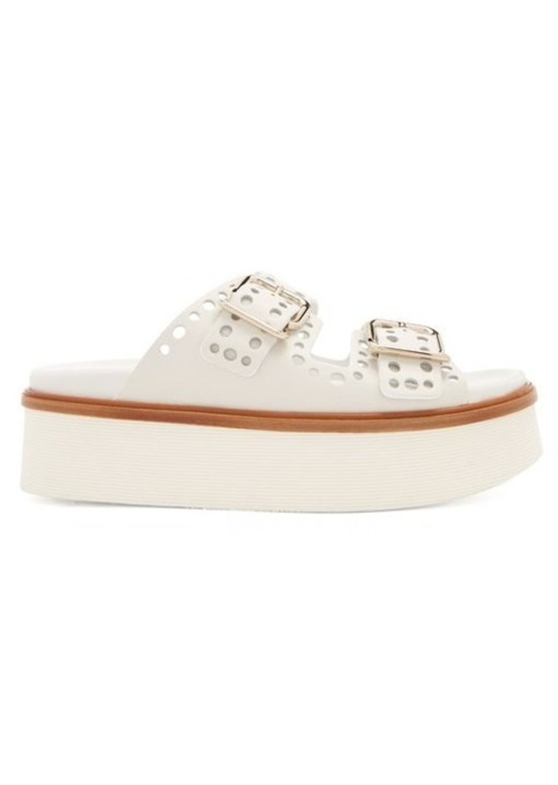 Cheap Sale Lowest Price From China Cheap Price Double-strap leather platform slides Tod's Cheap Sale Comfortable Discount Buy OCPenZQ