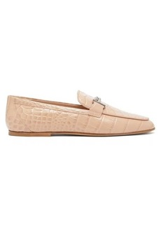 Tod's Double T-bar crocodile-effect leather loafers