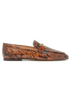Tod's Double T-bar python-effect leather loafers
