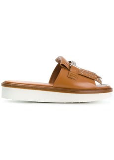 Tod's Double T flatform slides - Brown