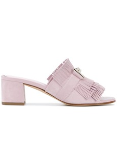 Tod's Double T fringed mules - Pink & Purple