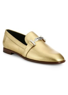 Tod's Double T Metallic Leather Loafers