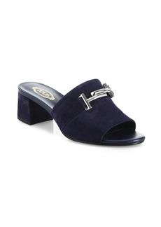 Tod's Double T Suede Slide Sandals