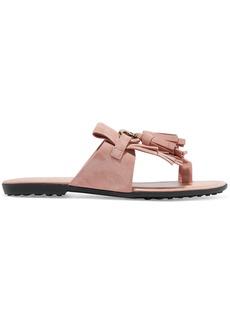 Tod's Embellished fringed suede sandals