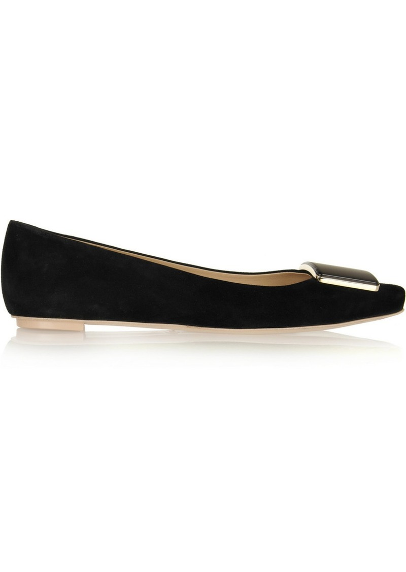 Tod's Embellished suede point-toe flats