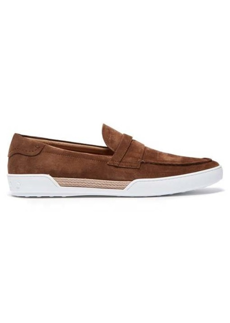 Tod's Espadrille-trimmed suede penny loafers