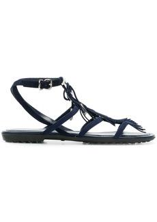 Tod's fringe trim sandals - Blue