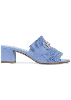 Tod's fringed block heel mules - Blue