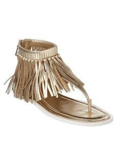 Tod's Fringed Metallic Leather Sandal