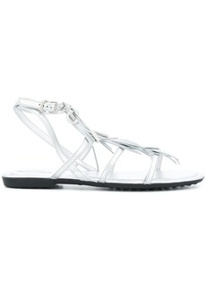 Tod's fringed multi-strap sandals - Metallic
