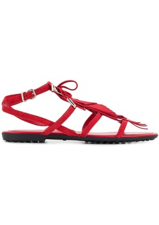 Tod's fringed multi-strap sandals - Red